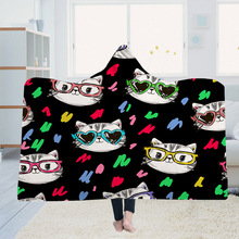 Fashion Cute Cat Paw Wearable Fleece Soft Plush Manta For Adults Plush Hooded Blanket Poncho Manta Para Sofa Fleece Deken advken manta tank