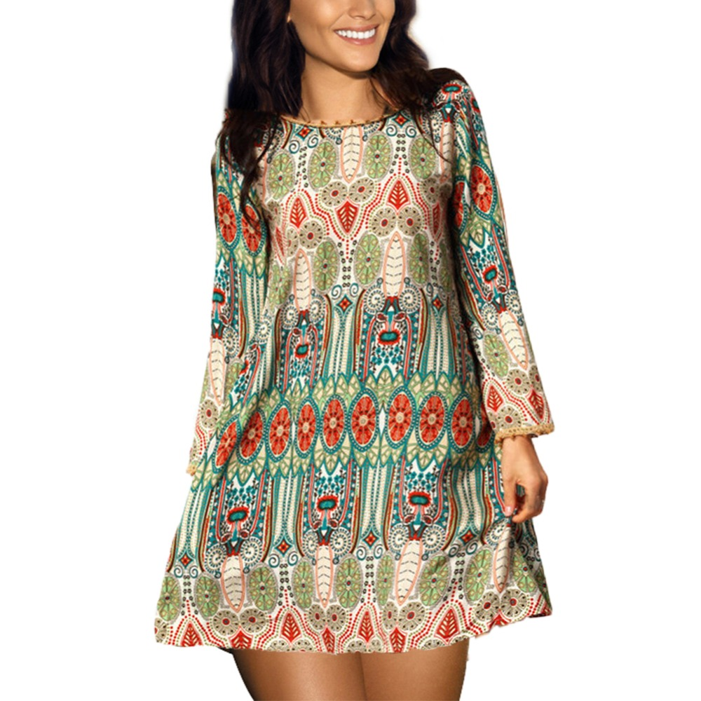 Fashion Summer Vintage Ethnic Dress Sexy Women Boho Floral Printed Casual Beach Dress Loose Sundress
