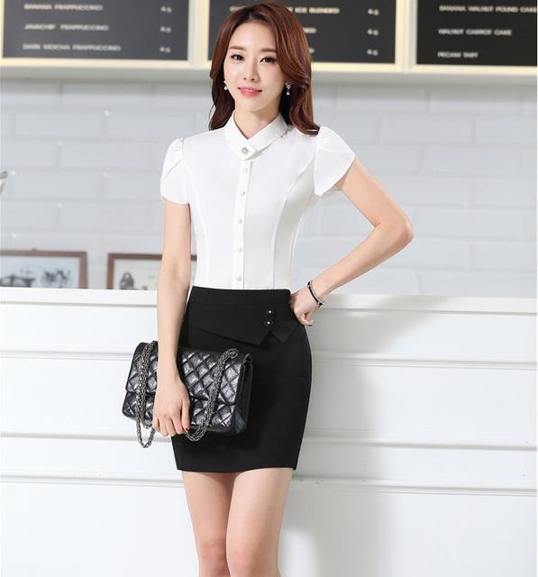 New Professional Trabalho Ternos Tops E Saia Conjuntos Uniformes de Escritório Ladies Negócios Camisas Blusas Camisas Roupas Femininas Conjuntos