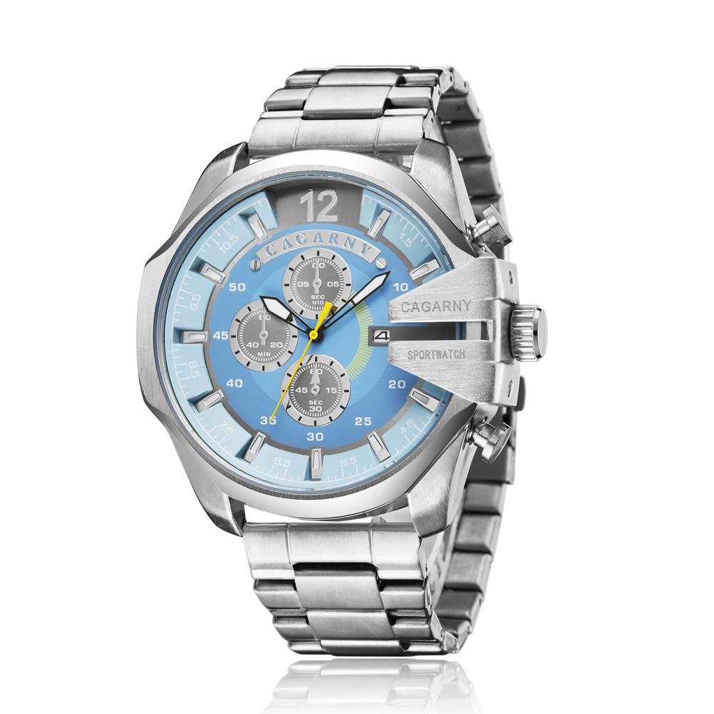 top luxury brand cagarny quartz watch for men gold steel band waterproof dz military Relogio Masculino mens watches drop shipping clock man big case (6)