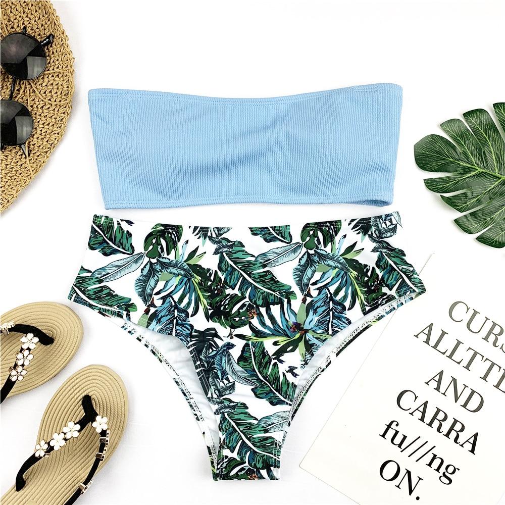 HTB1kiA9ShTpK1RjSZR0q6zEwXXa7 Sexy Bandeau Bikini Set Women Floral Print Swimwear Push Up Swimsuit Brazilian Biquini Pink Bikinis Pad Bathing Suit Beachwear