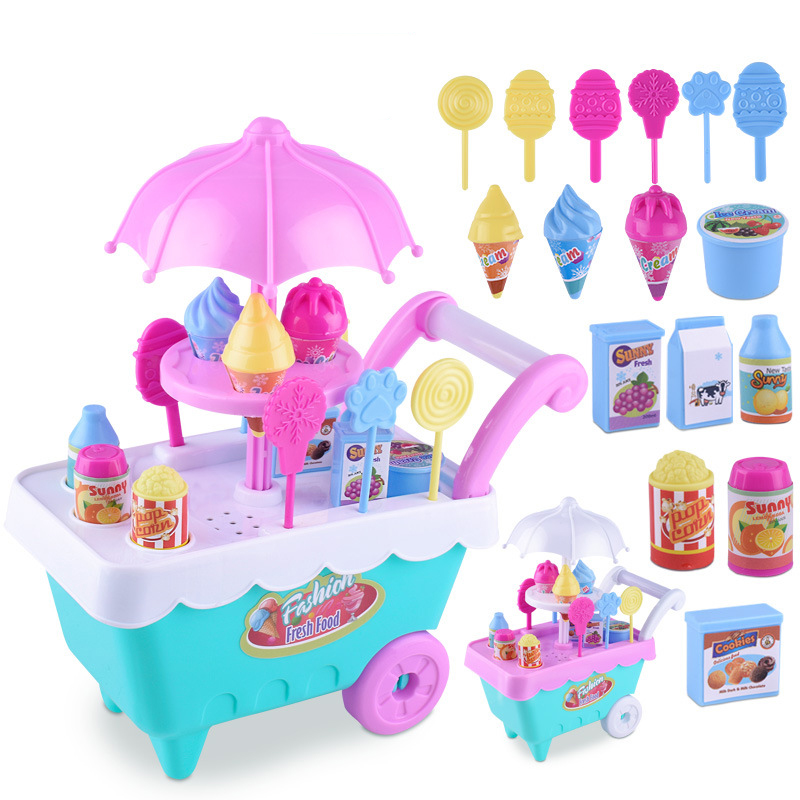 19Pcs DIY Simulation Ice Cream Carts Mini Pretend Play Groceries Candy Food Electric Music Educational Toys For Children Kids ice cream cart toy