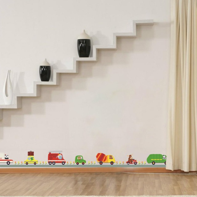 Cars Muurstickers Kinderkamer.Us 3 35 44 Off Cartoon Cars Kind Kamer Muurstickers Voor Kinderkamer Jongen Slaapkamer Muurstickers Window Poster Auto Muursticker Behang Plint In