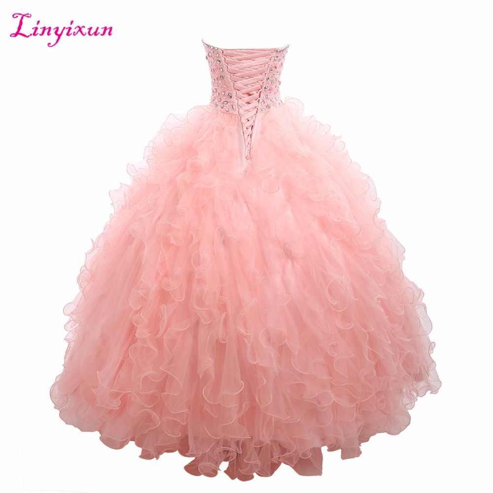 Linyixun Real Photo vestido de Baile Vestidos Quinceanera 2017 Com Cristal Beading Doce 16 Vestidos Para 15 Anos de Vestidos De 15 Anos