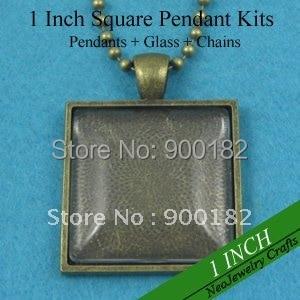 200 наборы ожерелье под античную бронзу наборы: 25 мм квадратный поднос+ 25 мм квадратные стеклянные Кабины+ 24 дюйма ожерелье из шариковой цепочки