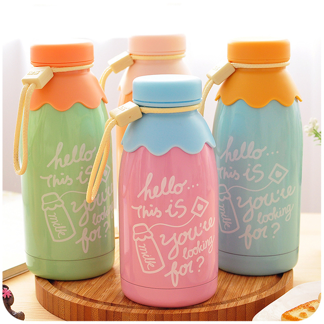 300ml and 350ml Kawaii Little Bear Milk Bottle Stainless Steel Vacuum Cup Thermal Cup Heat Insulation Vacuum Flasks Retail