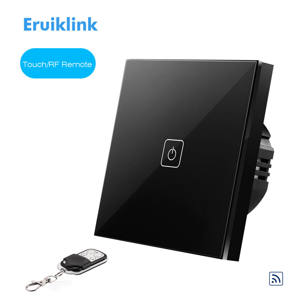 EU Type Eruiklink Wireless Remote Control Touch Switch 1 gang 1 Way, RF433 Smart Home Wall Switch, Glass Panel, Led Indicator smart home touch control wall light switch crystal glass panel switches 220v led switch 1gang 1way eu lamp touch switch