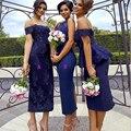 Elegant 2017 Dark Navy Blue Bridesmaid Dresses Lace Peplum Sexy Tea Length Sheath Formal Party Gown Robe Demoiselle D'honneur