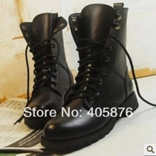 Free Shipping  Woman Ladies Motorcycle Boots Vintage Combat Army Punk Goth Ankle Shoes Women Biker PU Leather Short Boots