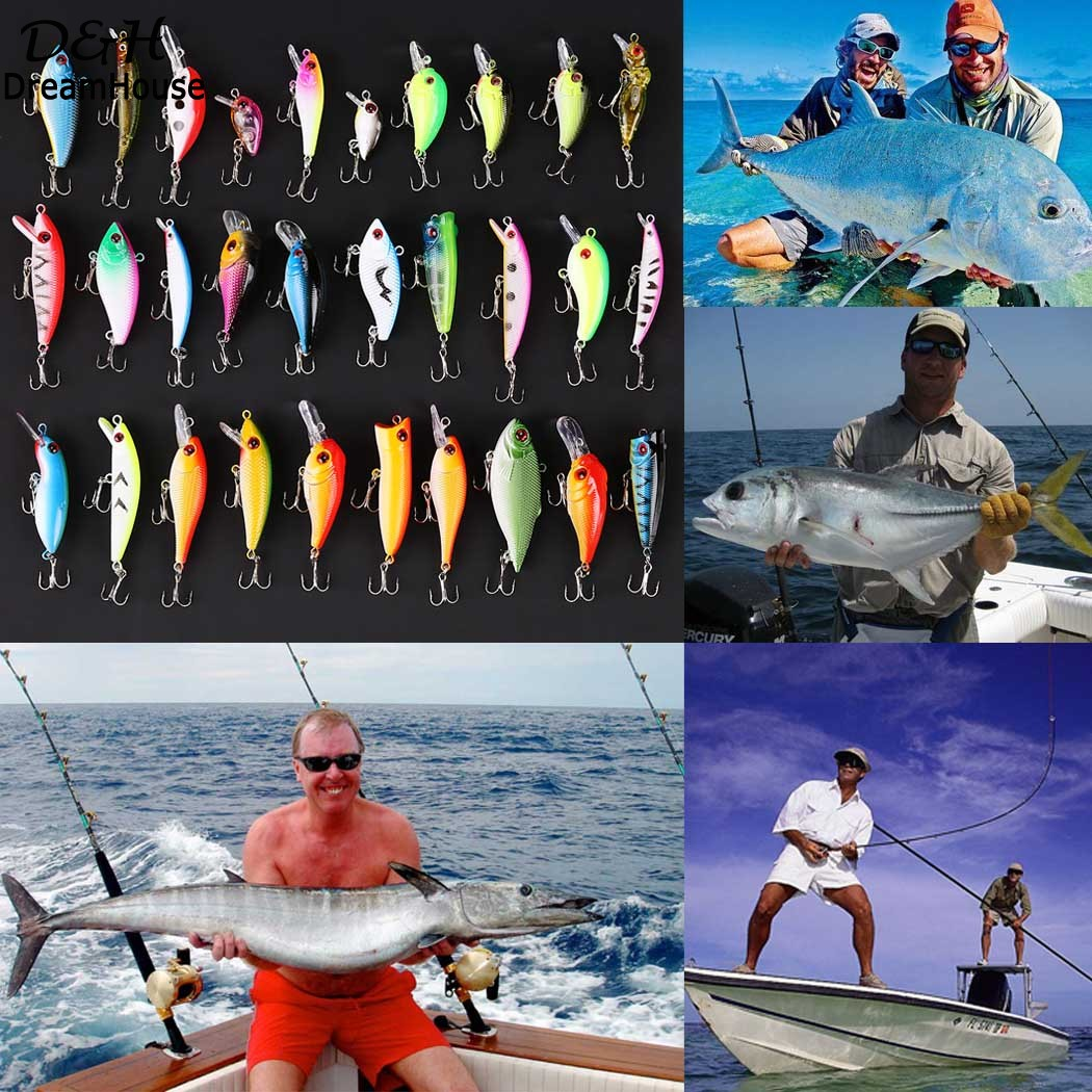 Colorful Fishing Accessories 30pcs Lot Wholesale Hard Fishing Lures Crankbaits With Hooks Minnow Baits Tackle