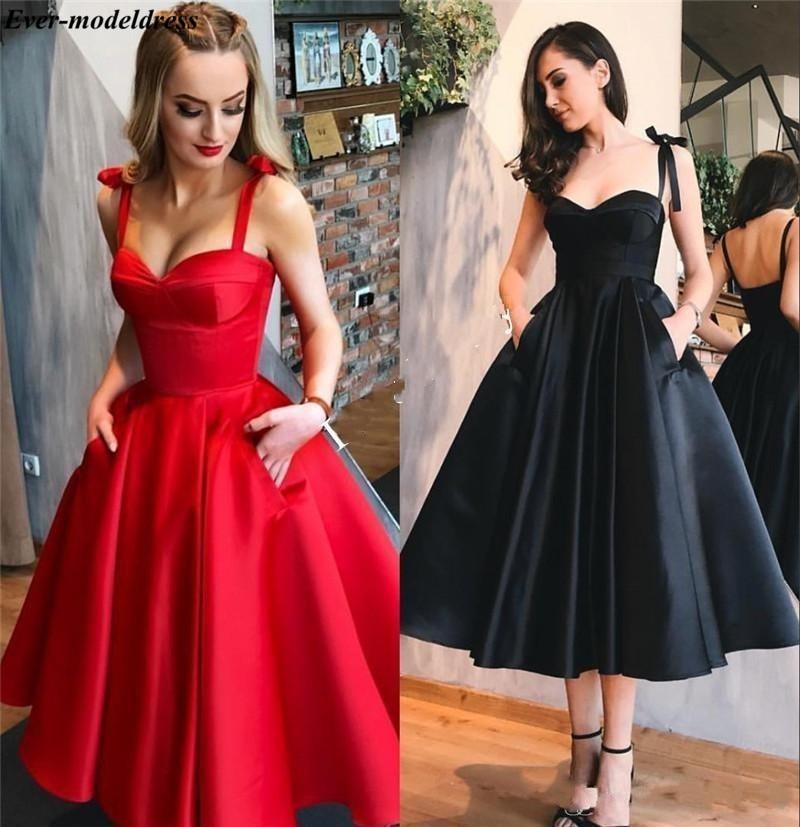 Tea Length Prom Dresses Short With Pockets Sweetheart Straps Zipper Satin A-Line Simple Evening Party Gowns Vestidos De Festa