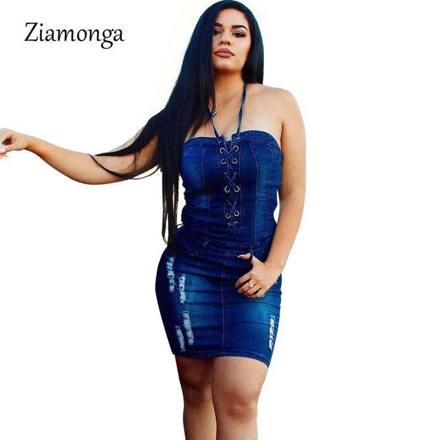 4513851f7f30 € 16.89 10% de DESCUENTO Ziamonga Sexy Lace Up Denim Vestido Mujer elegante  Bodycon vestido de verano sin espalda vendaje Fiesta Vestidos cortos ...
