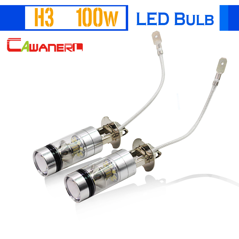 Cawanerl 1 Pair 100W H3 Car LED Bulb 20 SMD 2200LM White 6000K Automotive Fog Light Daytime Running Lamp Headlight Low Beam DRL new arrival a pair 10w pure white 5630 3 smd led eagle eye lamp car back up daytime running fog light bulb 120lumen 18mm dc12v