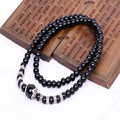 Ubeauty 8mm  natural Black agate beads japa mala rosary bracelet Tibetan Buddhist meditation bracelets& bangles for women