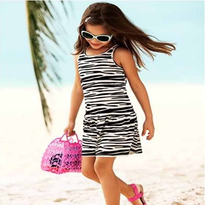 Black White Zebra Print Casual Kids Dresses For Girls