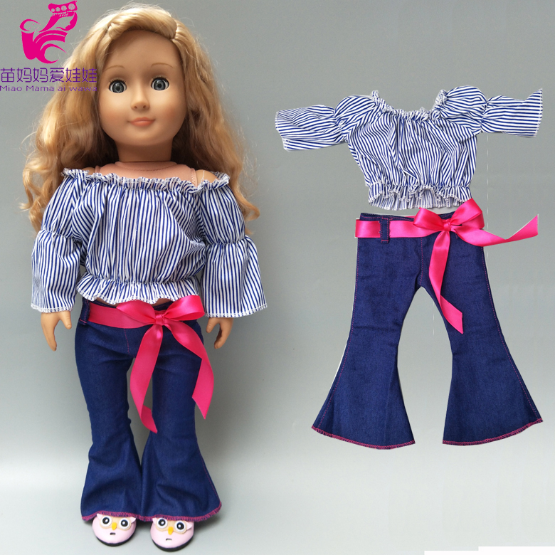18 Inch American Doll Clothes One Shoulder Flared Pants Doll Stripe Shirt Jeans Pants For Doll