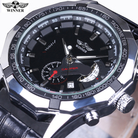 2016 New Fashion Men Male Clock Winner Brand Stylish Vintage Design Classic Automatic Mechanical Wrist Dress
