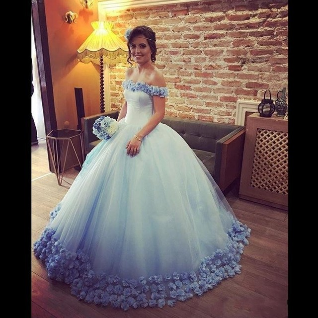 0ee8b11b79c Light Sky Blue Ball Gown Quinceanera Dress Tulle Cinderella With 3D Flower  Debutante Gowns Prom Dresses Sweet Sixteen Dresses