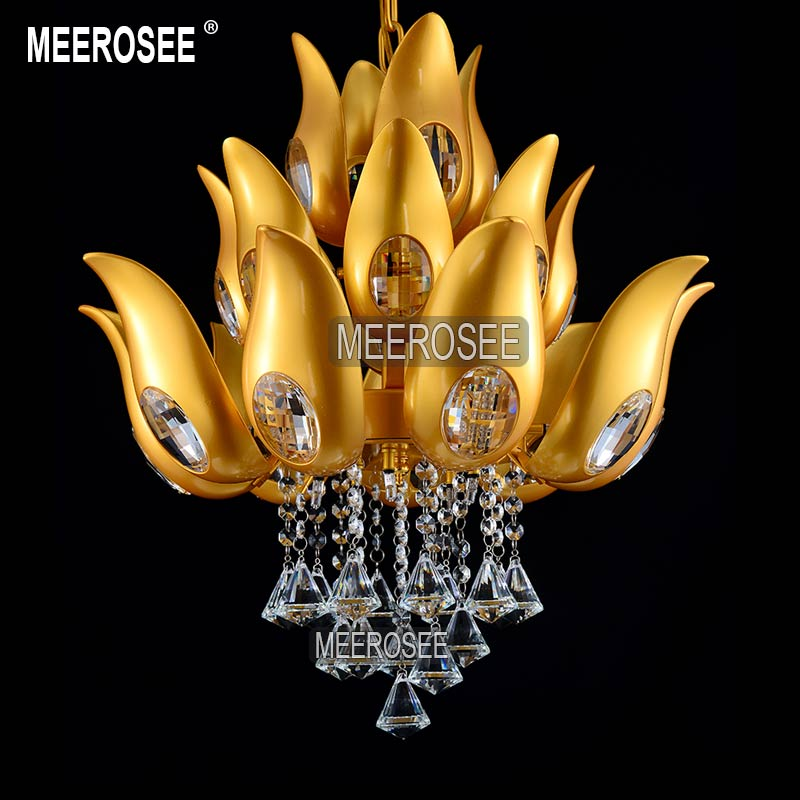 Floral Design Gold Crystal Chandelier light / Lamp/ lighting fixture Gold color Light for Lobby, Foyer, Staircase MD15170 minimalist style chandelier choice of color french gold and chrome crystal lamp crystal chandelier golden color is ready made