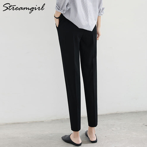 Image 3 - Women Harem Pants Summer Elastic Waist Plus Size Office Chiffon Capri Pencil Black Work Pants For Women High Waist Trousers Thin