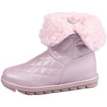 2016 new hiver PU en cuir de haute femmes bottes en peluche chaud dame bottes usure points blanc rose couleur neige bottes C466