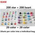 (200 estrelas + 200 coração) KAM Coração Estrela Resina Snaps Botões Fixadores de Plástico para Fralda de Pano do bebê bib XT 502 10 jogos por saco