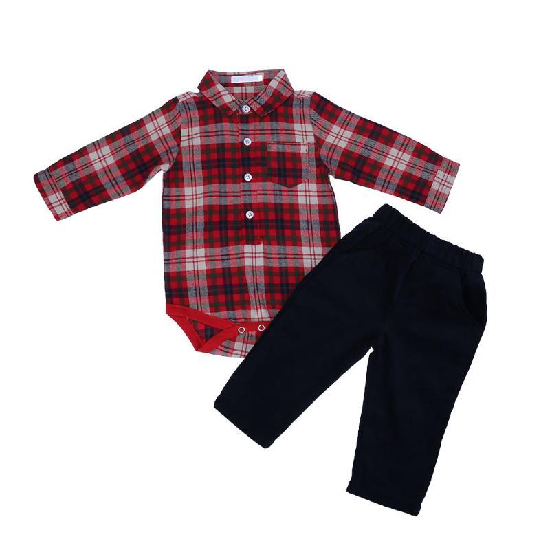New Fashion Autumn Plaid Boys Clothes Set Long Sleeve Romper Shirt Winter Corduroy Pants Set Warm Clothing for Baby Boy
