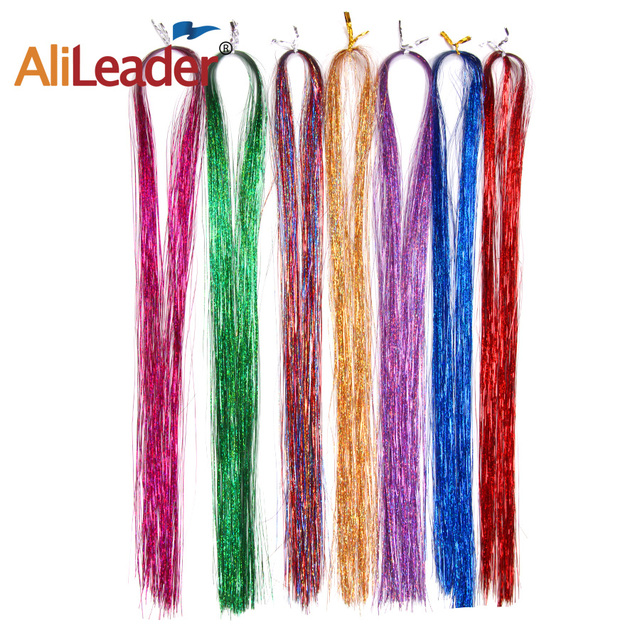 "36"" 100 Strands Colorful Long Decoration Bling Rainbow Silk Hair Extensions Dazzles Sparkle Shiny Tinsel Blue Pink Purple Green 1"