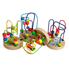 baby montessori Wooden Toys Mini Wooden Circles Bead Wire Maze Roller Coaster Educational Wood Puzzles for Kids Toy(China)