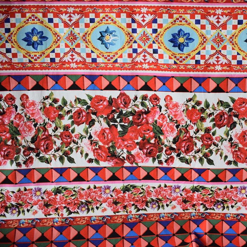 Reactive dyeing geometric flower pure cotton fabric for dress tissus au metre bazin riche getzner DIY tissu telas african tecido