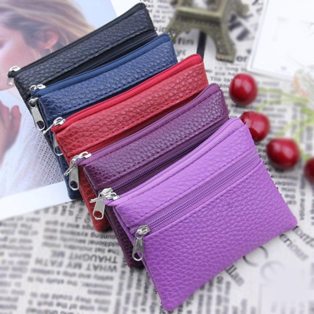 Porte-monnaie en cuir pour femmes, petit portefeuille, porte-monnaie, Mini sac à main à fermeture éclair, porte-clé portefeuille de poche pour enfants 2019