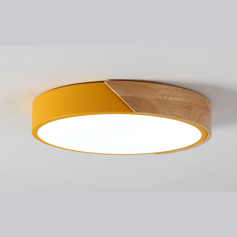 Nordic led ceiling lamp wood study children lighting colour round ceiling lights living room bedroom light green wl3204