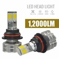 Pair Car 120W 12000LM Cree Cob Chip LED Headlight Kit 9007 HB5 PX29T White Car Head Light High Low Beam Universal Car-styling