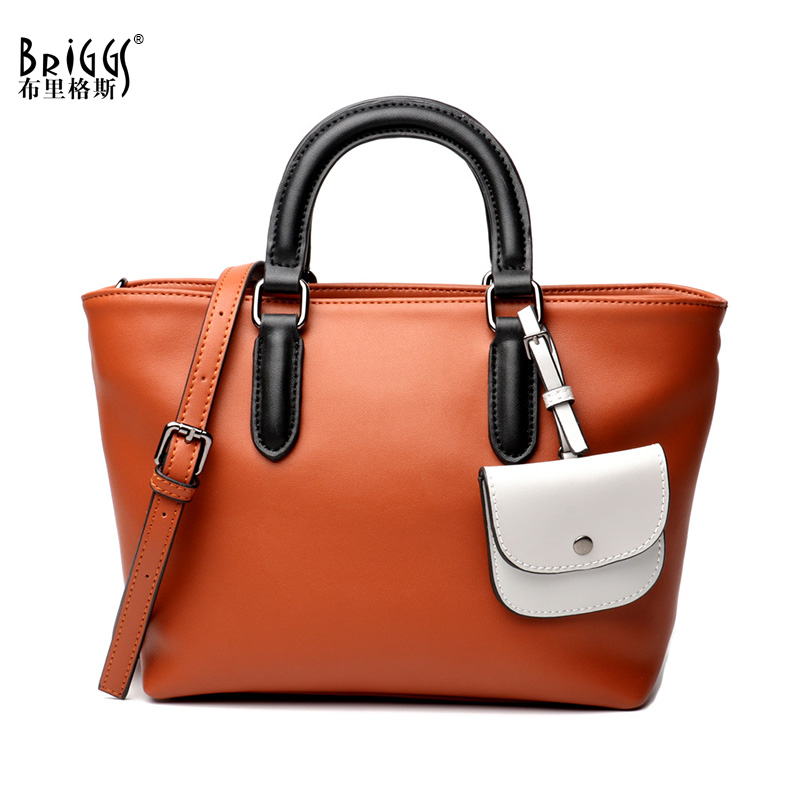 BRIGGS Casual Tote Genuine Leather Bag Female Famous Brand Luxury Handbags Women Bags Designer Shoulder Crossbody Messenger Bags new fashion women messenger bags famous brand casual tote bag women handbags genuine leather luxury designer shoulder bag bolsas
