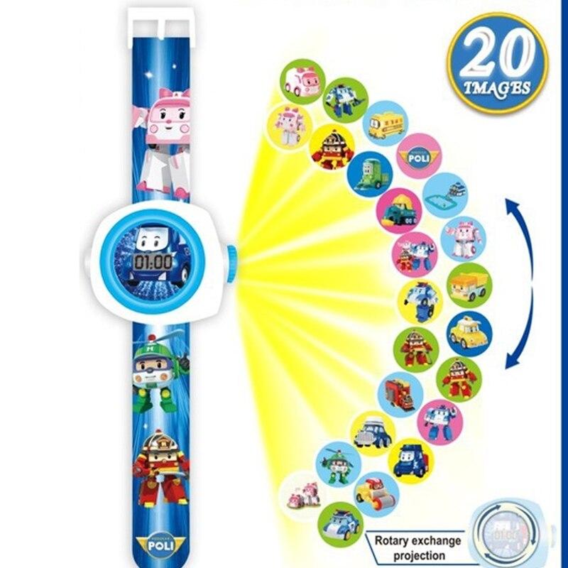 ROBOCAR POLI Children's Watch For Boy Girls 3D Projection Watches Kids Electronic Cartoon Boys Wristwatches Relogio Masculino