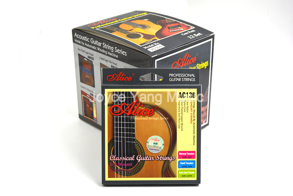 12 Sets of Alice AC136-N/H Classical Guitar Strings Crystal Nylon Strings Silver-Plated Copper Wound 1st-6th Strings Wholesales