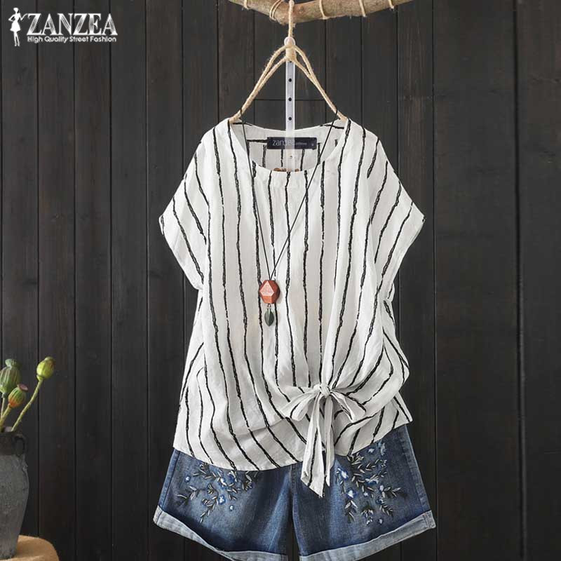 2019 ZANZEA Vintage Striped Shirt Women's Summer Blouse Fashion Bow Short Sleeve Tops Plus Size O Neck Blusa Female Casual Tunic