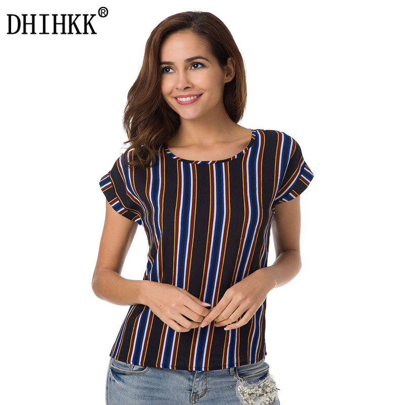 DHIHKK 2018 Women Striped Casual Chiffon Blouses Shirts Short Sleeve O-neck Femme Blouse Fashion Ladies Lady Tee Shirts Tops