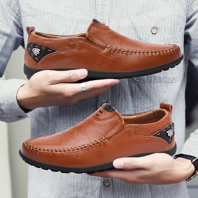 Casual Driving Shoes Men Genuine Leather Loafers Men Shoes Men Loafers Luxury Brand Flats Shoes Men Chaussure Breathable Big Sz
