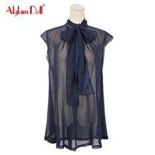 Alglam Doll Women Fashion Ladies Casual Chiffon Sleeveless Bow Polka Dot Stand Collar 2017 Summer Blouse Top Shirt