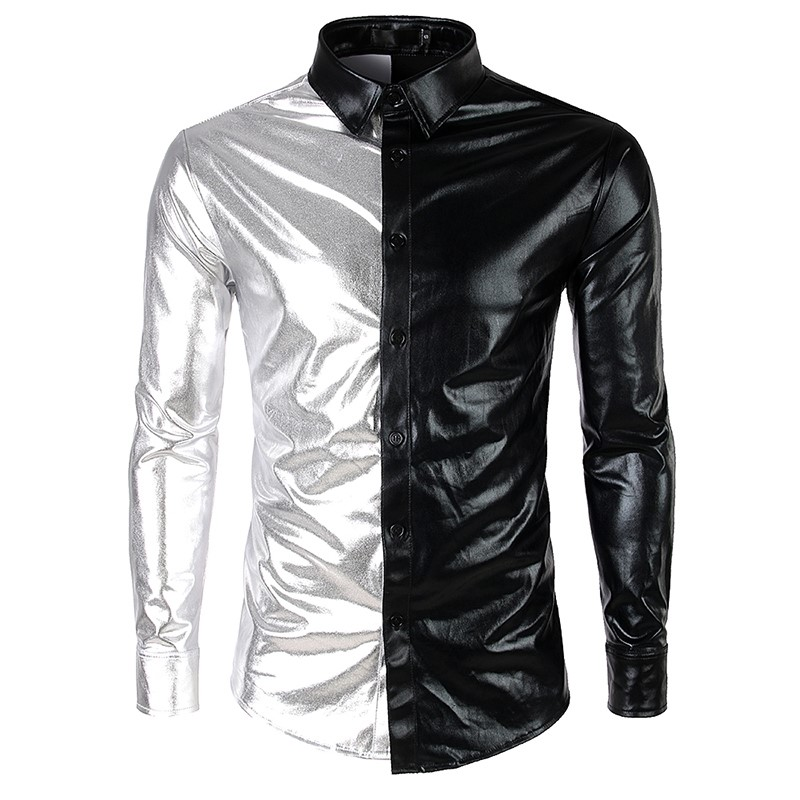 2019 Fashion Men's Metallic Shiny Nightclub New Brand Shirt Gold Sliver Patchwork Disco Dance Tops Costume Party Slim Clubwear