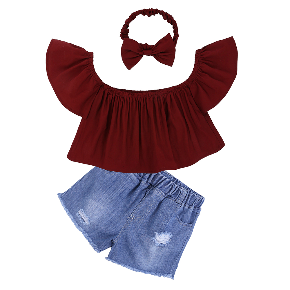 Children Sets for Girls Fashion 19 New Style Girls Suits for Children Girls T-shirt + Pants + Headband 3pcs. Suit ST307 32