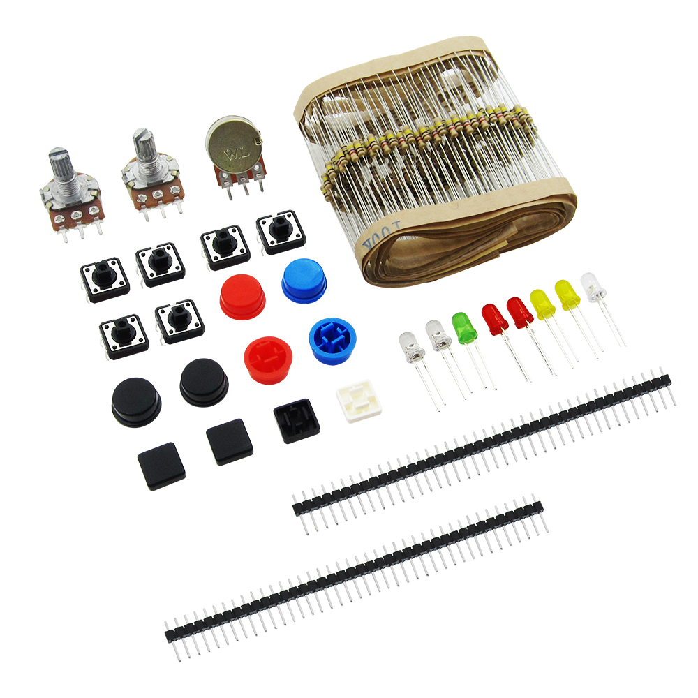 HAILANGNIAO 1LOT generic parts package Handy Portable Resistor Kit  Starter Kit UNO R3 LED potentiometer tact switch pin header