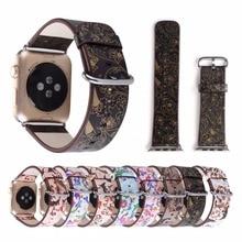 Винтаж цветок кожаные наручные браслеты часы ремешок Браслет Ремень Замена для Apple Watch, 38, 42 мм, 40/44 мм Sereis 1/23/4