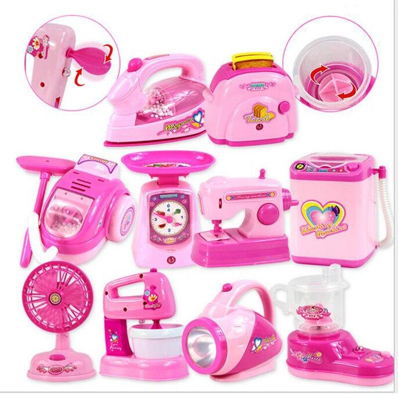 12 pièces rose bébé filles semblant jouer jouets Mini cuisine jouets Simulation appareils ménagers cadeaux pour enfants