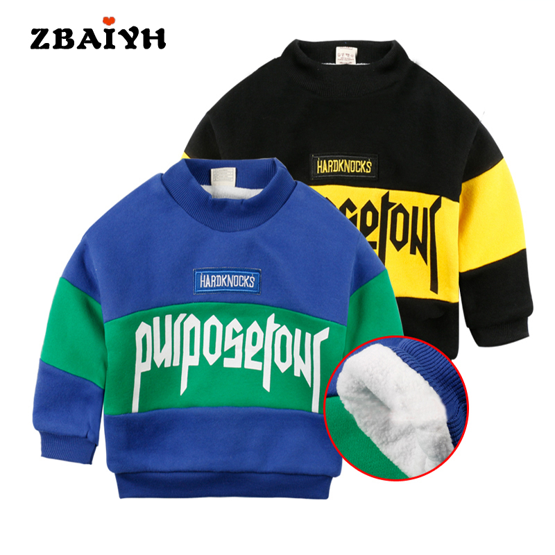 Winter Warm Pullover Girls Sweatshirt Long Sleeve 100% Cotton Sweatshirt for Boys Letter Moleton Infantil Children Clothing