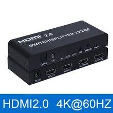 2x2 HDMI 2.0 przełącznik przejsciówka 4K @ 60Hz YUV 4:4:4 optyczne SPDIF + 3.5mm jack ekstraktor audio z pilotem zdalnego sterowania na podczerwień