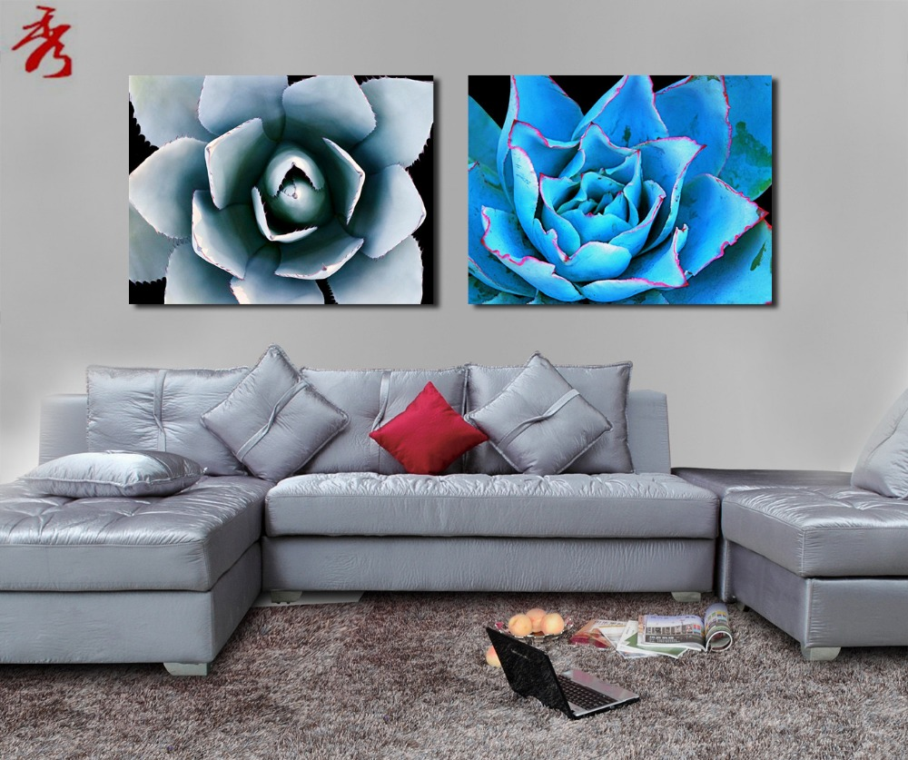 art cyan blue water lily lotus canvas printing hotel room porch flower modular picture vestibule wall decor unframed paintings - Cyan Living Room Decor