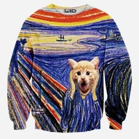 New Fashion Mens 3D Sweatshirt Print Crewneck Casual Pullover Hoodies Men Surprised Cat High End Autumn