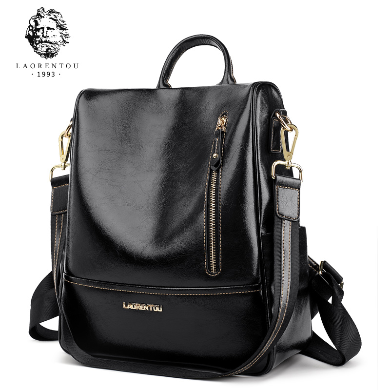 LAORENTOU Women Small Genuine Leather Backpack Female Fashion School Bags Cacual Practical Travel Backpack Bag For Girl new korea fashion genuine leather bag women backpack leather school backpack female women travel backpack for girl free shipping